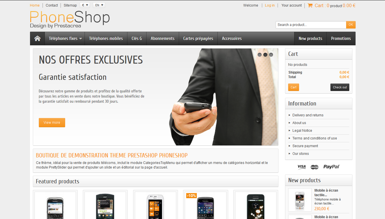PhoneShop - PrestaShop interneta veikala dizains