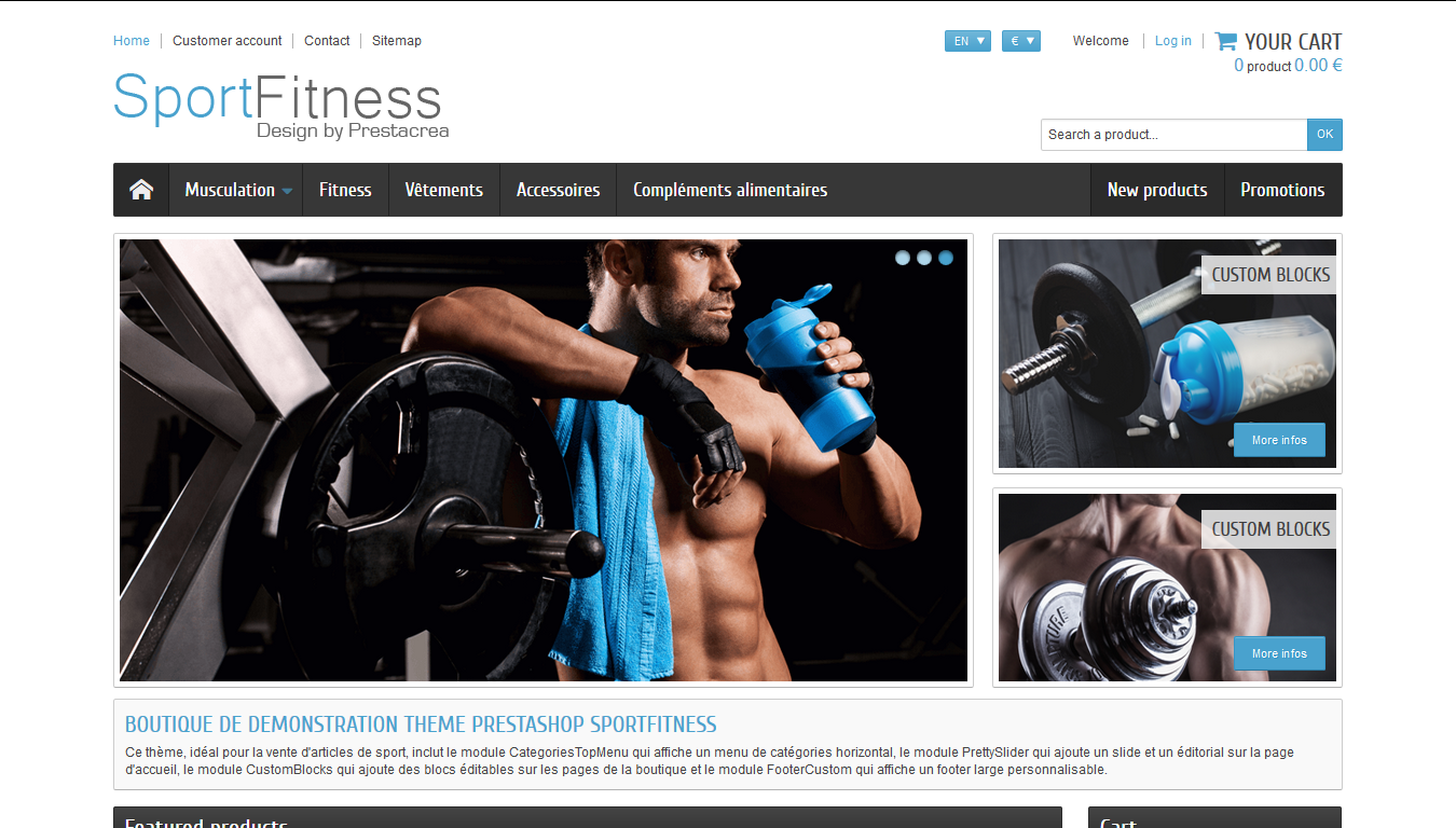 SportFitness - PrestaShop interneta veikala dizains