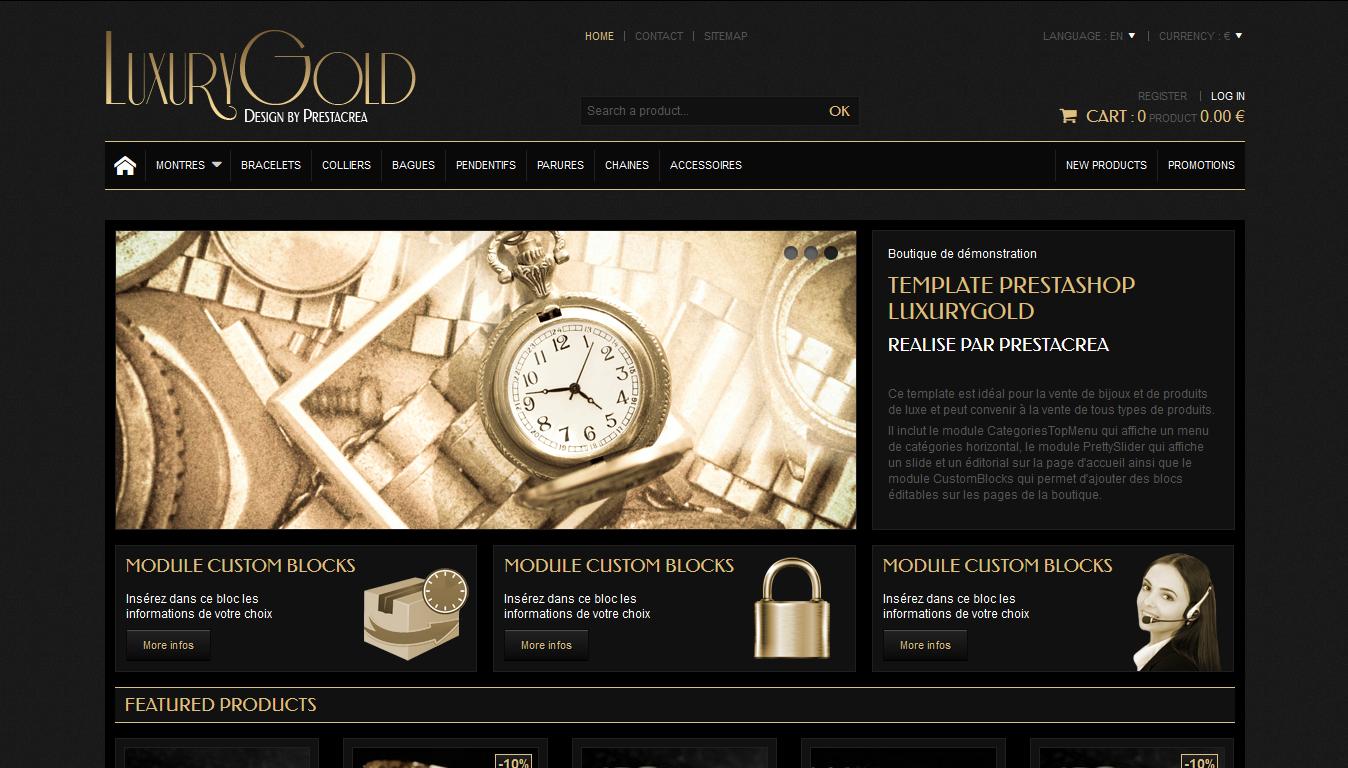 LuxuryGold - PrestaShop interneta veikala dizains
