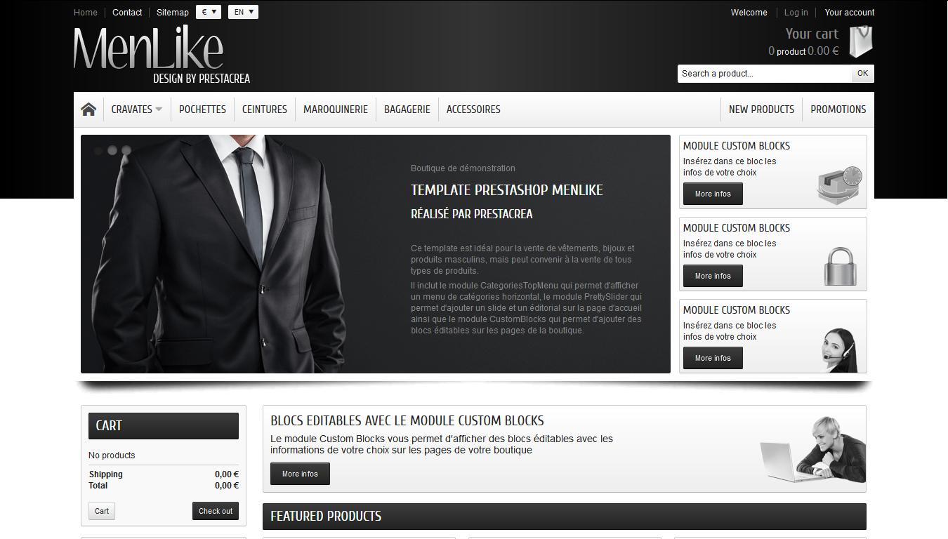MenLike - PrestaShop interneta veikala dizains