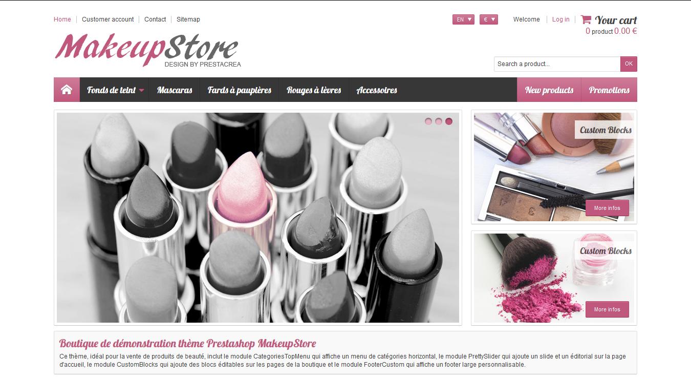 MakeupStore - PrestaShop interneta veikala dizains