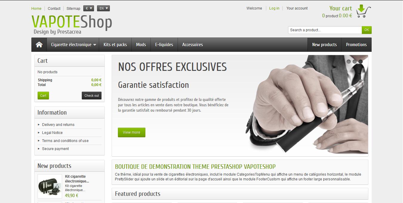 VapoteShop - PrestaShop interneta veikala dizains