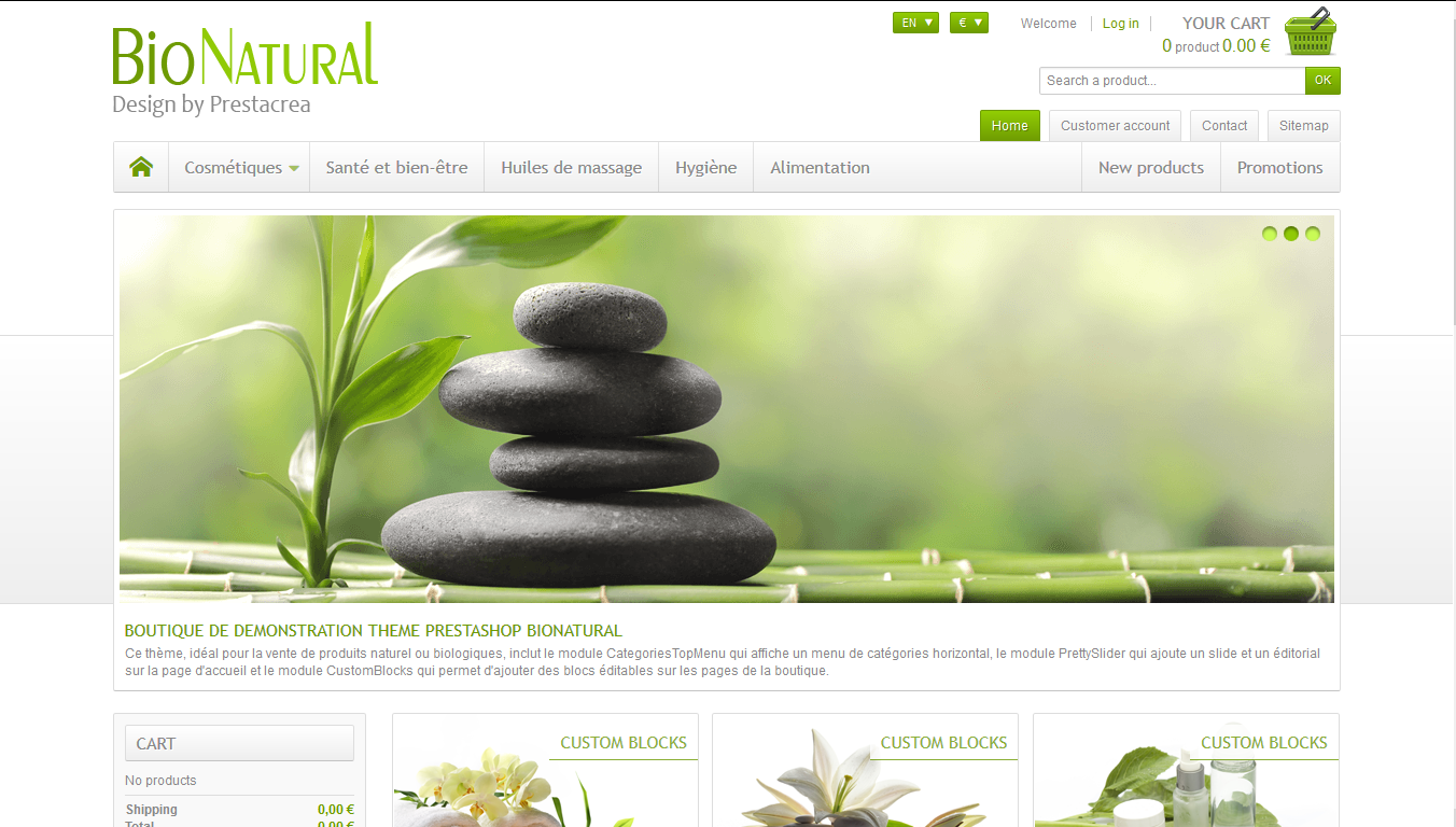 BioNatural - PrestaShop interneta veikala dizains